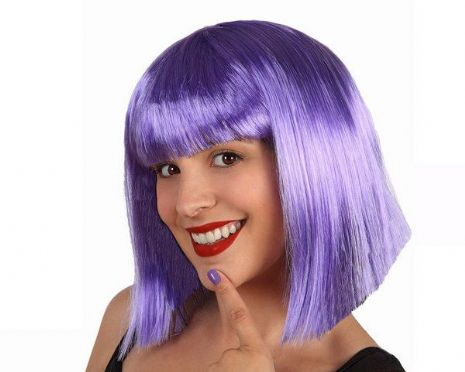 Hair Wig Purple Lady middle Length Space Astronaut Cosmonaut NASA Sci-fi